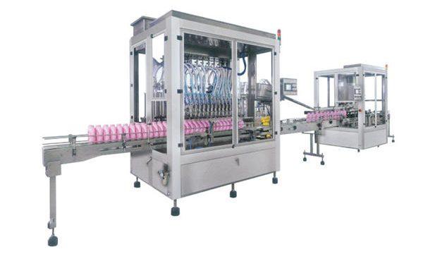 مکمل خودکار مائع صابن ڈٹرجنٹ شیمپو بھرنے والی مشین۔